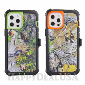 For Apple iPhone 12 Pro Max - Camo Hunting Heavy Duty Cover Case w/Holster Clip