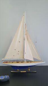Wooden Model Boat J Class Enterprise Yacht Sail 51cmL 67cmH