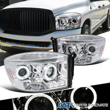 06-09 Dodge Ram 1500 2500 3500 Replacement Clear LED Halo Projector Headlights