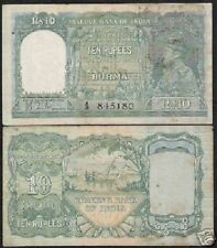 BURMA INDIA 10 RUPEES P5 1938 KING GEORGE VI BOAT OX RARE WORLD CURRENCY BILL
