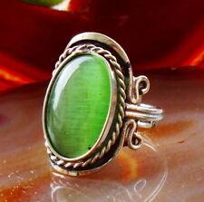 Ring Cat Eye Katzenauge grün Alpaka Silber Ethno Inka Maya Indianer Nr 11