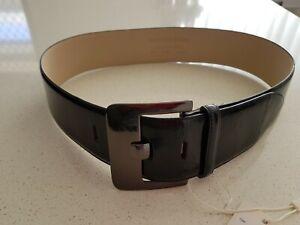 Veronika Maine Black Leather/Patent Belt Size Medium BNWT RRP $125.00