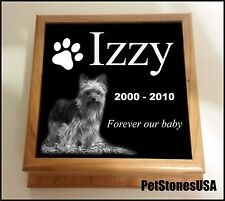 Pet Urn Memorial Stone Cremation Photo Box Wood Engraved Shih Tzu Maltese cat