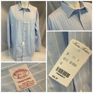 Brooks Brothers Traditional Shirt 18.5 37 Blue Stripe Cotton NWT $98 YGI D1-266