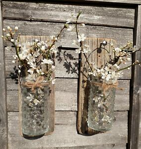 Pair RUSTIC Grey Driftwood WALL MOUNTED  Jar PILLAR SCONCE CANDLE HOLDERS Eco