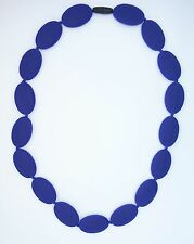 Navy Oval Silicone Teething Nursing Breastfeeding Necklace Chewable Beads 3408