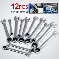 12 pc Combination Ratcheting Wrench Set Metric 6-19MM & Standard Spanner Tool