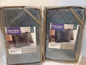 """Better Homes & Garden Pair Two 26 """" Sq. Gray Quilted Velvet Euro Shams New In..."""