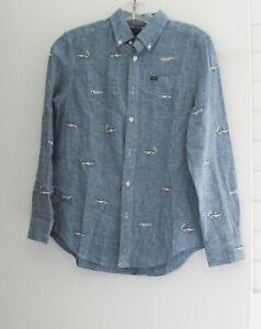 Polo Ralph Lauren Boys Embroidered Chambray Long Sleeve Shirt Blue Sz M (10-12)