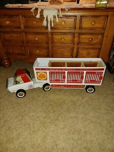"""Vintage Buddy L Wild Animal Circus Truck With Animal Trailer 26"""" Long"""