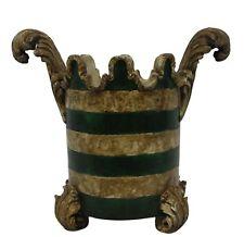Vintage Ornate Planter Plant Holder Jar Home Decor Accessory Green Tan Gold