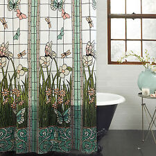 PEVA Stained Glass Meadow Shower Curtain Bath Decor Butterfly Flower Aqua