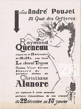 RAYMOND QUENEAU Le cheval Troyen ALANORE Poujet Carton invitation 1948