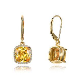 925 Silver Citrine Spinel Drop Dangle Hook Yellow Gold Hoop Earrings Wholesale
