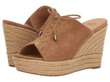NEW UGG Australia Giorgia Suede CHESTNUT WEDGE Slip-On SANDAL Women's Size 5