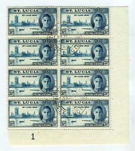ST.LUCIA; 1946 GVI Victory issue fine used BLOCK, VARIETY R9/6 Dots by Medallion