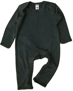 SALE ITEM Pack of 5 Baby Cotton Long Leg Romper Suits in Black size 6-12 Months