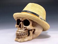Skull with Panama Hat Figurine Statue Skeleton Halloween