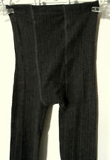 FADED GLORY Knit Leggings XS Charcoal Gray textured stripes Toeless Base layer