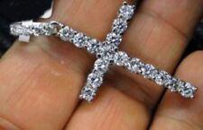 Certified Cross Pendant Necklace White Round Cut Diamond 14K White Gold Jewelry