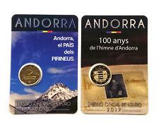2 x 2 Euro Gedenkmünze/Sondermünze Andorra 2017 Land der Pyrenäen + 100 J.Hymne