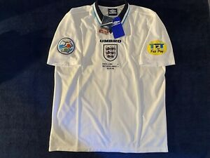 1996 England Home Shirts by Umbro #9 Alan Shearer 2008 Official Reissue Size XL