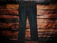 Calvin Klein Womens Lean Boot Dark Wash Blue Jeans Flap Back Pocket Meas 34x32