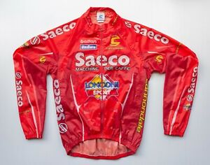 Men's Saeco Cannondale Pro Cycling Red Rain Wind Breaker Jersey Size Large