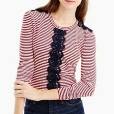 J.Crew Striped Red White Blue Lace Front Long Sleeve Top Size XS