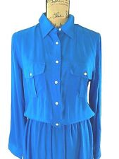 NEW Ralph Lauren dress 10 Large blue 100% viscose drawstring pocket shirt $130