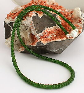 Natural Chrome Diopside Necklace Precious Stone 925 Silver Jewelry Green Russia
