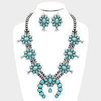 SQUASH BLOSSOM necklace set in turquoise and silver  24 inch adj.  NEW