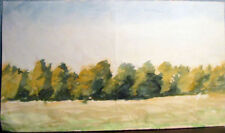 Landscape watercolor drawing ROW OF TREES by Russian artist A.M.Gromov