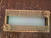 Mid Century Hollywood Regency Brass Ornate Filigree Tissue Box Holder Flower