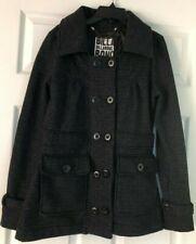 Billabong Womens Size M Black Button Peacoat Coat
