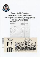 Bobby Corbett Newcastle United 1946-1952 Raro Firmado Original anual de corte