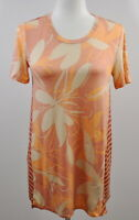 LOGO by Lori Goldstein Size Small Printed Knit Top with Contrast Stripe Melon