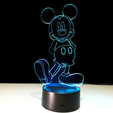 Cartoon Mickey Mouse 7colour 3D LED Night Light Micro USB Table Desk Lamp