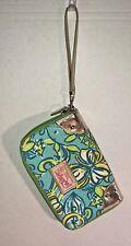 LILLY PULITZER ORIGINALS Floral Wristlet Wallet Organizer Zip Around Turquoise