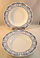 Oneida Dinnerware Breton Blue Soup Bowl Set Of 2 Bowls Stoneware Vintage 1999