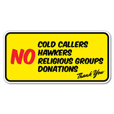 No Cold Callers Hawkers Religious Group Door Sticker  #7474EN