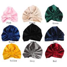 Toddler Newborn Kids Baby Boy Girl Indian Turban Velvet Bow Knot Beanie Hat Cap