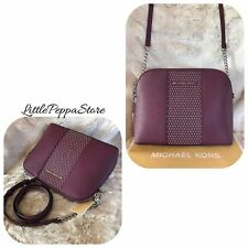 NWT MICHAEL KORS LEATHER MICRO STUD CINDY DOME CROSSBODY BAG IN PLUM