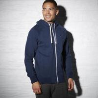 REEBOK mens  hoodie hoody hooded blue LARGE jumper sweatshirt top zip up gym