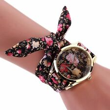 Fashion Women Lady Geneva Cloth Band Rose Dial Bracelet Quartz Dress Wrist Watch
