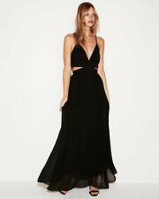 EXPRESS Medium BLACK CUT-OUT ELASTIC WAIST MAXI DRESS (M 8-10)
