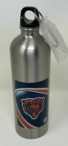 Vintage! Chicago BEARS NFL Football Silver Travel WATER BOTTLE w/ Carabiner Clip