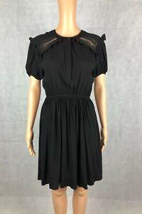 Jaune Rouge Paris Black Waisted A-Line Short Sleeve Dress - Size M