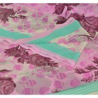 Sanskriti Vintage Pink Saree Pure Georgette Silk Printed Sari Craft 5 Yd Fabric