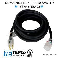 Temco 30ft Cold Weather Generator Cord Black Nema L14 30 125250v 30a Ul